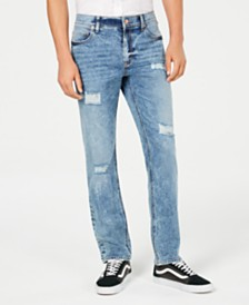 American Rag Men's Straight Fit Ripped Jeans, Created for Macy's