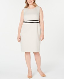 Kasper Plus Size Sleeveless Jacquard Dress
