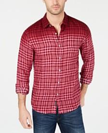 Michael Kors Men's Slim Fit Linen Blend Dip-Dyed Plaid Shirt