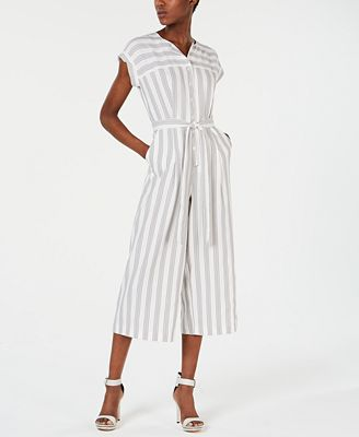 Calvin Klein Petite Striped Cropped Jumpsuit