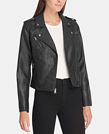 Women's Faux-Leather Moto Jacket