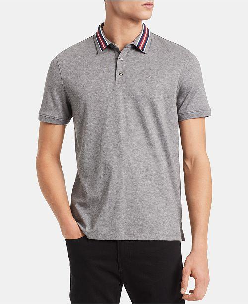db39cd457 ... Calvin Klein Men s Liquid Touch Regular-Fit Contrast Collar Polo Shirt  ...