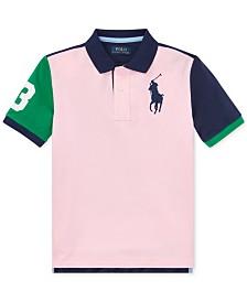 768a7c989f4020 Polo Ralph Lauren Big Boys Colorblocked Big Pony Cotton Mesh Polo Shirt