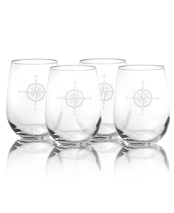 Rolf Glass Compass Rose Stemless Wine Tumbler 17Oz - Set Of 4 Glasses