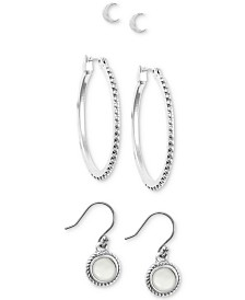Lucky Brand Silver-Tone 3-Pc. Set Earrings, Created for Macy's