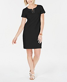 Cotton Lace-Up Shift Dress, Created for Macy's