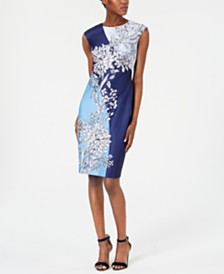 Vince Camuto Petite Floral Printed Scuba Sheath Dress