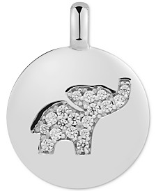 "CHARMBAR™ Swarovski Zirconia Elephant ""Dream Big"" Reversible Charm Pendant in Sterling Silver"