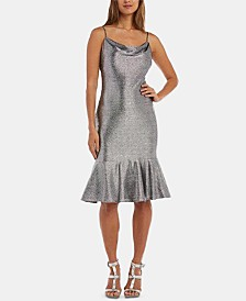 Nightway Petite Metallic-Foil Flounce Dress