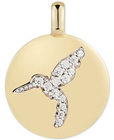 "CHARMBAR™ Swarovski Zirconia Hummingbird ""Never Give Up"" Reversible Charm Pendant in 14k Gold-Plated Sterling Silver"