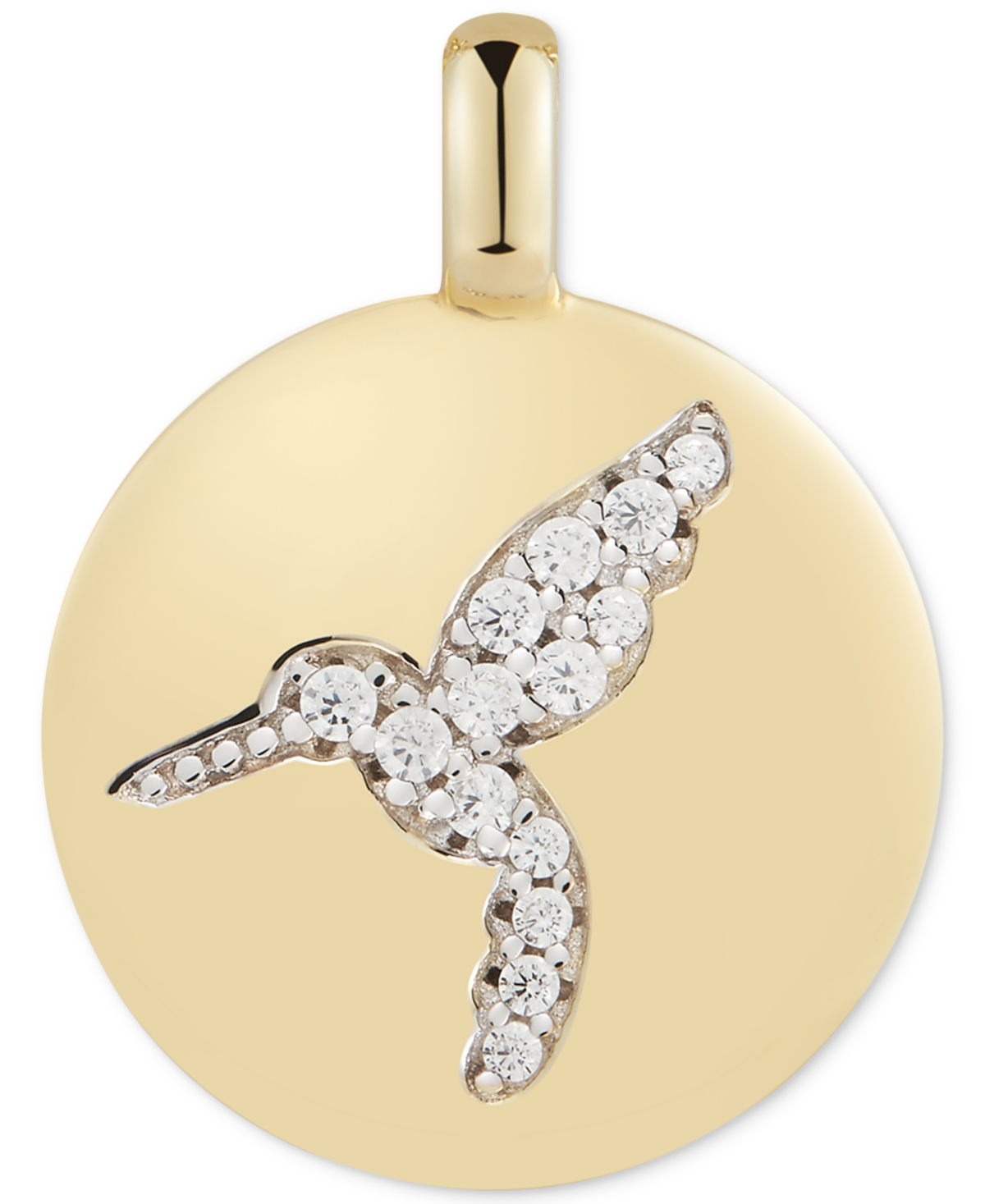 """Cubic Zirconia Hummingbird """"Never Give Up"""" Reversible Charm Pendant in 14k Gold-Plated Sterling Silver"""