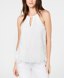 I.N.C. Lace Keyhole Halter Top, Created for Macy's