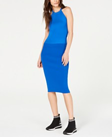 MICHAEL Michael Kors Ribbed Sleeveless Sweater & Ribbed Pencil Skirt