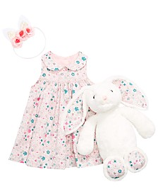 First Impressions Baby Girls Printed Dress, Plush Bunny & On the Verge Little & Big Girls Flower & Gold-Trim Ears Headwrap