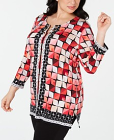 JM Collection Plus Size Toggle-Neck Tunic, Created for Macy's