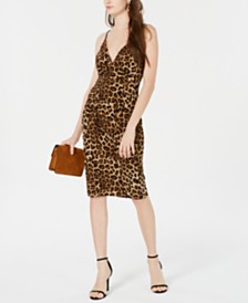 Emerald Sundae Juniors' Cheetah-Print Lace-Back Dress