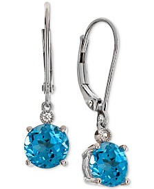 Blue Topaz (3-1/3 ct.t.w.) & Diamond Accent Drop Earrings in 14k White Gold(Also Available In Amethyst, Mystic Quartz, Citrine, & Garnet)