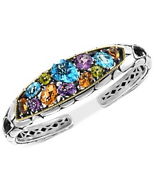 EFFY® Multi-Gemstone Cuff Bracelet (14-1/5 ct. t.w.) in Sterling Silver & 18k Gold-Plate
