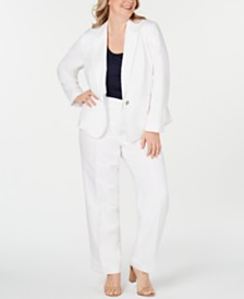 Nine West Plus Size One-Button Jacket & Lightweight Pants