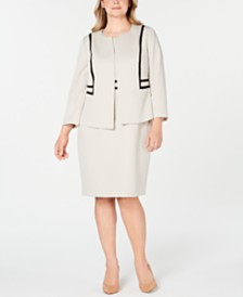 Kasper Plus Size Jacquard Jacket & Sheath Dress