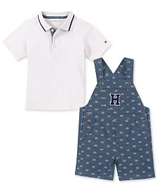 Tommy Hilfiger Baby Boys 2-Pc. Polo Shirt & Printed Shortalls Set