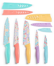 10-Pc. Knife Set, Maze Prints