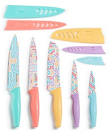 Art & Cook 10-Pc. Knife Set, Maze Prints