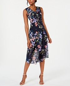 Robbie Bee Petite Floral Printed Chiffon Midi Dress