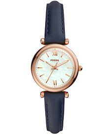 Fossil Women's Mini Carlie Navy Leather Strap Watch 28mm