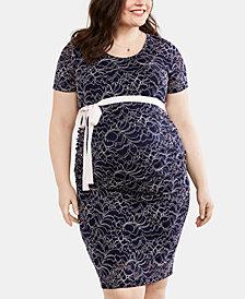 Motherhood Maternity Plus Size Lace Belted Dress