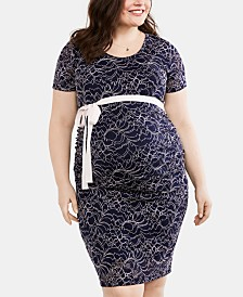 Motherhood Maternity Plus Size Lace Belted Dress