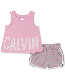 Calvin Klein Toddler Girls 2-Pc. Logo Tank Top & Shorts Set
