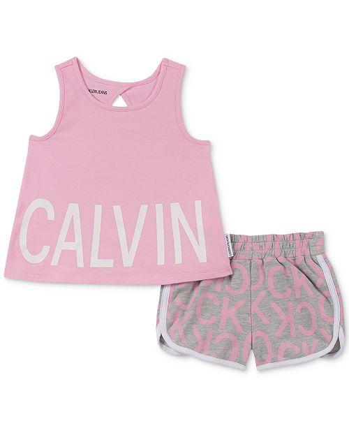 Calvin Klein Toddler Girls 2-Pc. Logo Tank Top & Shorts Set