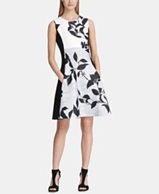 DKNY Colorblocked Floral Fit & Flare Dress