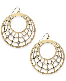 Thalia Sodi Gold-Tone Crystal Cage Drop Hoop Earrings, Created for Macy's
