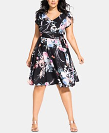 City Chic Trendy Plus Size Flourished Dress