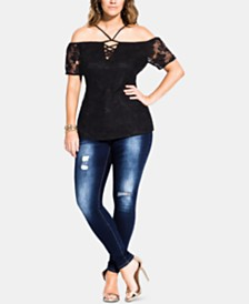 City Chic Trendy Plus Size Lace-Up Off-The-Shoulder Top