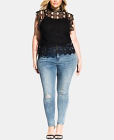 City Chic Trendy Plus Size Lace Martina Top