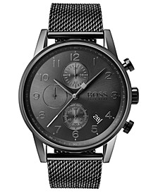 Men's Chronograph Navigator Gray Stainless Steel Mesh Bracelet Watch 44mm