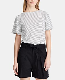 Lauren Ralph Lauren Petite Flutter-Sleeve Cotton Top