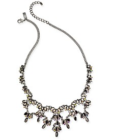 "I.N.C. Hematite-Tone Marquise Stone & Crystal Statement Necklace, 18"" + 3"" extender, Created for Macy's"