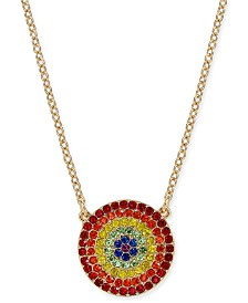 "I.N.C. Gold-Tone Crystal Rainbow Disc Pendant Necklace, 16"" + 3"" extender, Created for Macy's"