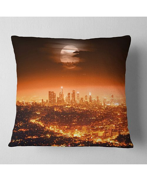 "Design Art Designart 'Dramatic Full Moon Over Los Angeles' Cityscape Throw Pillow - 16"" x 16"""