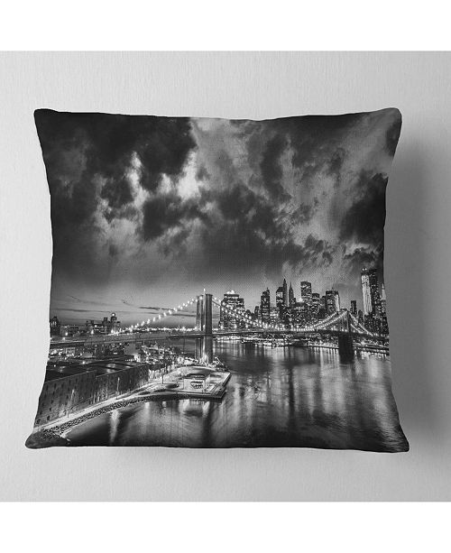 "Design Art Designart 'Amazing Night In New York City' Cityscape Throw Pillow - 16"" x 16"""
