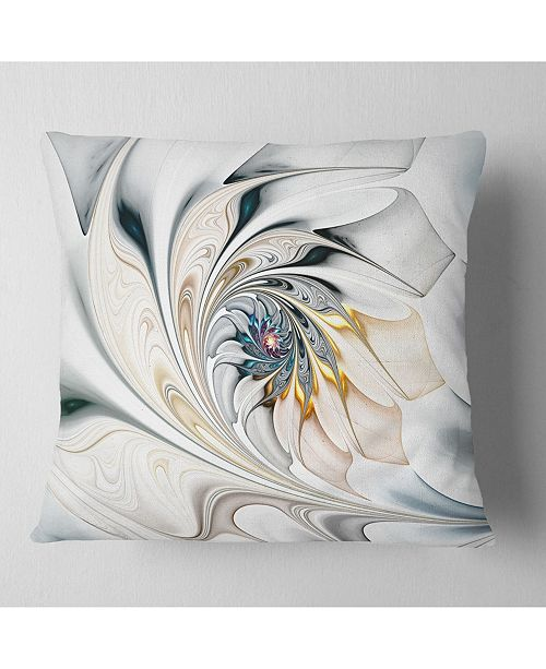 """Design Art Designart 'White Stained Glass Floral Art' Floral Throw Pillow - 16"""" x 16"""""""