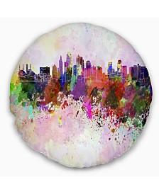 "Designart 'Kansas City Skyline' Cityscape Throw Pillow - 16"" Round"