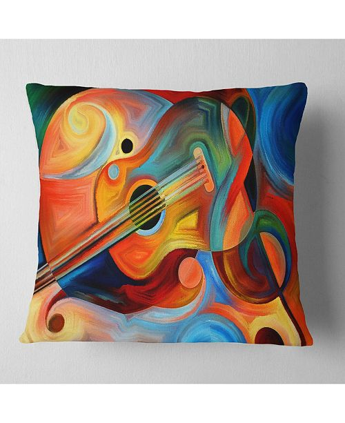 "Design Art Designart 'Music and Rhythm' Abstract Throw Pillow - 16"" x 16"""