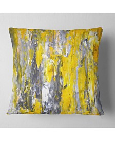 "Designart 'Grey and Yellow Abstract Pattern' Abstract Throw Pillow - 16"" x 16"""