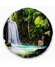 "Designart 'Erawan Waterfall' Landscape Photo Throw Pillow - 16"" Round"