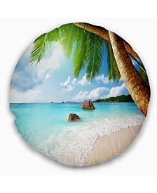 "Designart 'Praslin Island Seychelles Beach' Seashore Photo Throw Pillow - 16"" Round"